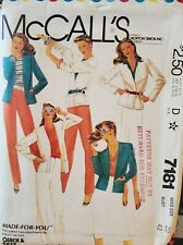 Vtg McCall's Made-for-you pattern 7181 Misses' Jacket, Skirt, Pants  sz 20 uncut