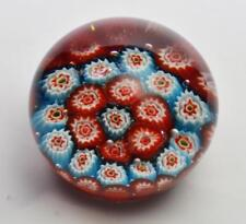 "Unique Murano? Art Glass Red and Blue Flowers Millefiori paperweight 2.4""D x 2""H"