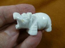 (Y-Hip-578) little white Hippo Hippopotamus Gemstone carving figurine gem hippos
