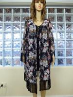 BOOHOO LONG FRINGE KIMONO SHAWL jacket 8 - 14 coat FLORAL boho weekend gypsy xc