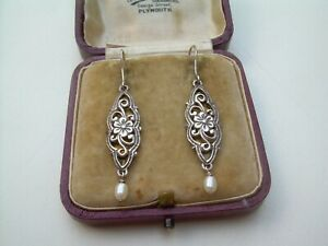 Antique Edwardian/Art Deco Silver and Pearl Drop Earrings.