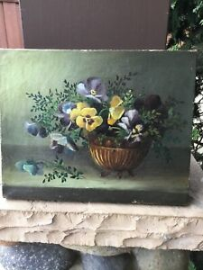 Antique Mystery Artist still life floral oil painting pansies Charles J. Edmand