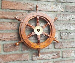 Schiffsrad Holz Steuerrad Schiffsteuerrad 30cm Schiff Garten Deko Boot Antik Neu