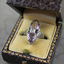 Art Deco 1920s 14K White Gold Filigree Pale Purple Amethyst Diamond Ring