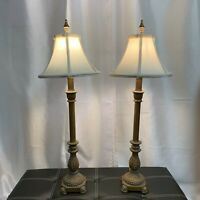 Vintage 2 Footed Candlestick Style Lamp with Finial Table Lamps