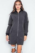 Women's Long Black Bomber Jacket (Size L)