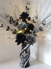 Artificial Silk Flower Arrangement Silver Black In Glitter Vase Lights Up