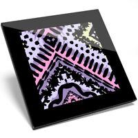 1 x Tribal Pattern Aztec Ethnic Art Glass Coaster - Kitchen Student Gift #12419