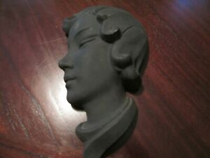Vintage Black Ceramic Woman Wall Mask Hanging Decor - EXCELLENT CONDITION