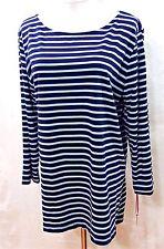 Ruby Rd. Women Plus 1x Navy Light Blue Striped Tee T Shirt Top Blouse