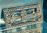"""ART DECO Brooch Pin 1930s STERLING Silver & MARCASITES Open Design 1.5"""" x 3/4"""""""