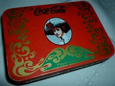 VINTAGE COCA COLA PLAYING CARDS IN METAL TIN WITH SCORE PAD AND PENCIL