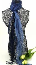 Sheer Silk Two Tone Dark Blue Scarf - 80531adkbk