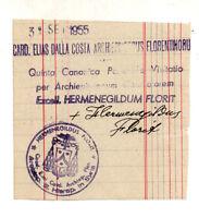 1955 BIGLIETTO AUTOGRAFO CARDINALE FLORIT DA FAGAGNA DI UDINE. ARCIV. DI FIRENZE