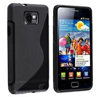 TPU Rubber Skin Case for Samsung Galaxy S II i9100, Black S Shape AD