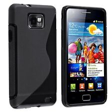 TPU Rubber Skin Case for Samsung Galaxy S II i9100, Black S Shape AD