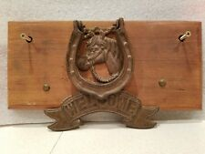 Very nice Horse with Horseshoe Vintage Country Door Knocker on wood