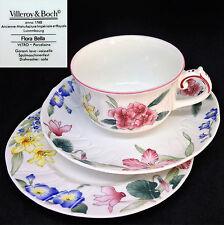 Villeroy & Boch 1990s Flora Bella Cup Saucer Plate Vintage Bone China Trio Set