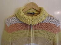 Yellow & Orange Stripe Zip Up Cardigan in Size 12