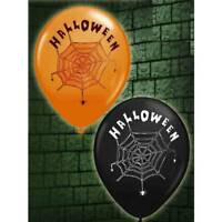 Halloween BALLOONS x 16 Spiderweb Orange and Black Fancy Dress Party Decoration
