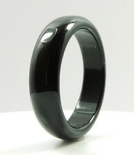 Gorgeous Natural Black Agate Gem Band Ring Size 7.25