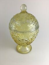 Vintage Avon footed candy dish w/ lid yellow floral pattern