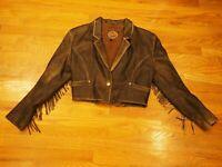 MIDWAY Womens Leather Jacket 13/14 Vtg Retro Short fringe Distressed rocker