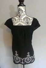 Ann Tatlor Loft Black Embroidered A Line Top Size 14 Hippie Style