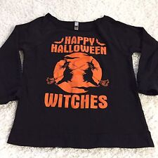 Next Level Womens Sweatshirt Sz S Happy Halloween Witches Off Shoulder Neck