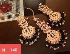 Gold Plated Choker Traditional Indian Kundan Green Earrings Tikka Set
