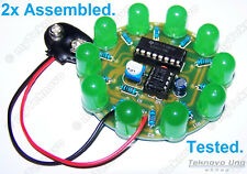2x ASSEMBLED Round JUMBO Green LED Chaser Scroller DIY KIT NE555 CD4017 - USA