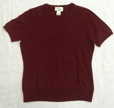 Burgandy Short Sleeve Cashmere Sweater By Neiman Marcus Sz S EUC