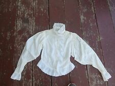 vintage 80's womens victorian style white top with lace trim size 7/8