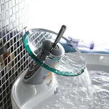 Glass Waterfall Bathroom Basin Wash Room Mixer Tap Chrome Brass Single Lever New