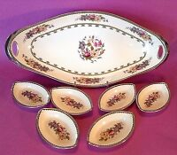 Noritake Large Celery Dish & 6 Salt Dips - Hand Painted With Silver Rims - Japan