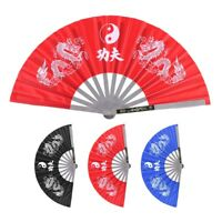 Chinese Kung Fu Martial Arts Tai Chi Fan Dance Dragon Stainless Steel Frame Fan
