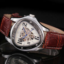 Skeleton Mens Brown Leather Triangle Case Sport Army Auto Mechanical Wrist Watch