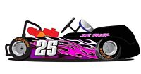 Pink Triple Flames Go Kart Side Wrap and Numbers Decals Kit Go Kart Wraps