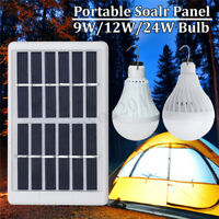 12/24W Solar Panel Power LED Bulb Light Home Garden Outdoor Camping    H Y