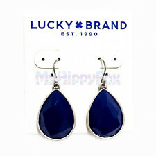 Lucky Brand Antiqued Silver Tone Navy Blue Stone Drop Earrings