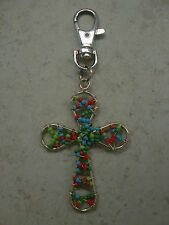 SILVER BEADED CROSS KEY RING/PURSE  CHARM  HANDCRAFTED BY *KELLYS*KOUTURE*