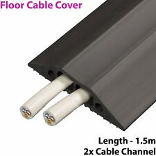 1.5m x 83mm Heavy Duty Rubber Floor Cable Cover Protector - Twin Channel Conduit