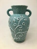 Vintage Blue Speckled Glaze Art Pottery Vase Made in Italy