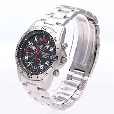 Seiko Chronograph SND387 SND387P1 Mens Black Dial Steel 100m Quartz Watch