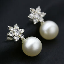 Earings For Women with Ear Stud Pearl Crystal Rhinestone Silver /Gold Plated New