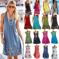 Plus Size Womens Boho Floral Short Dress Summer Beach Tunic Tops Vest Sundress