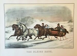 Currier & Ives > WINTERTIME (Lot of 3 ) Ice skating, ice fishing,  sleigh ride