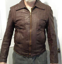 Vintage Brown Leather Jacket Casual 1970's Style ~ M ~ Leathercraft Process of A