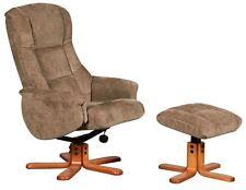 Shangri La Chenille Fabric Swivel Recliner Chair & Footstool in Mink/Cherry