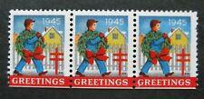 Us-1945-Strip of 3 Greeting Seals-Mnh Cinderellas